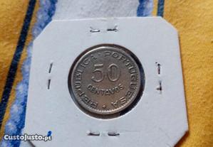 Moeda 50 centavos Angola 1950