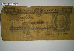 Nota de Angola Ultramar 20 Escudos 10.06.1962
