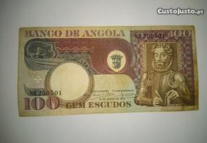Nota de Angola Ultramar 100 Escudos 10.06.1973