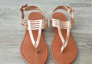Sandálias Rose Gold, tamanho 36