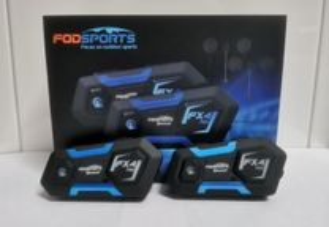 2-Auriculares/intercomunicadores Bluetooth, C/RADIO,capacete/moto(NOVO