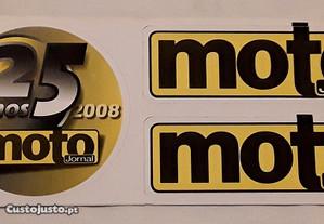 Conjunto de 3 autocolantes 25 anos MotoJornal