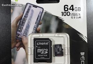 Cartão de memória 64GB Kingston com adaptador