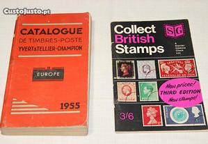 2 catálogos selos - Europa e Inglaterra - 1955/68