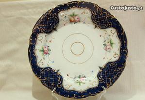 Prato 35 cm Vista Alegre Azul c Flores RARO 1947
