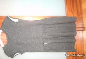 Vestido de malha preto com brilho - 8 anos