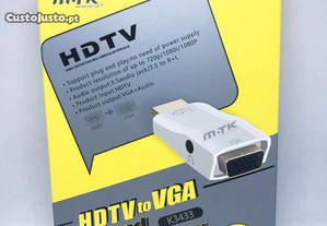Adaptador conversor HDMI para VGA com saída áudio