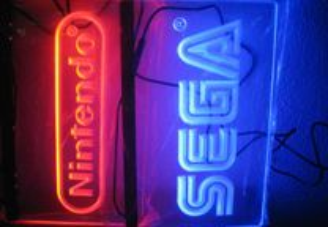 Acrilico luminoso LED azul Sega e nintendo Novo