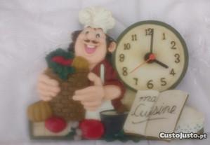 Relógio cozinheiro em loiça 20 x 15 cm Muito giro