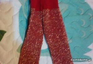 Meia calça vermelha com brilhantes dourados Nancy