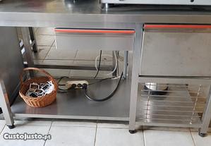 Banca em inox para máquina do café