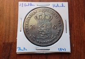 Moeda 2 1/2 Gulden 1847 Holanda