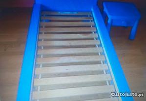 Cama de criança azul com estrado 170x90cm