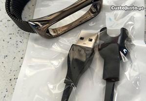 Pulseira metálica e cabo USB para MI Band2