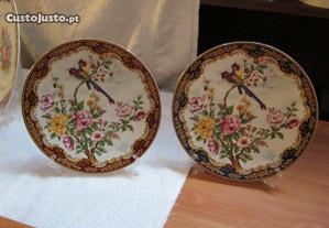 2 pratos de 21 cm decoração passaros