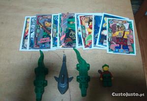 Lote lego figuras, e cartas etc
