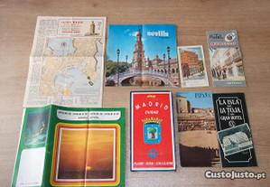 Folhetos turísticos vintage Espanha Madrid Sevilha