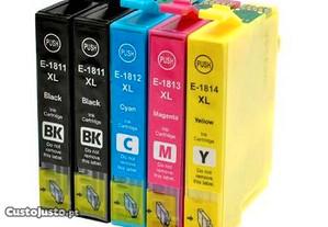 Tinteiros Epson T18XL T1811/2/3/4 Kit 5 Genéricos