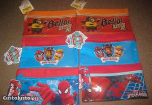 6 Estojos Escolares/Minions/Paw Patrol/Spider-Man