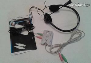 Auscultador,microfone,comutador KONIG p/ PC+Oferta