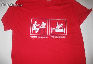 T-shirt com piada/Novo/Embalado/Vermelha/Modelo 4