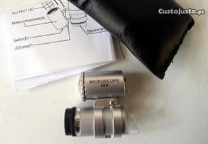 Mini micro microscópio de bolso lupa led 45x
