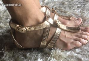 Sandálias douradas Luís Onofre (tam 37)
