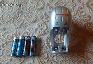carregador de pilhas AAA/AA + 4 pilhas