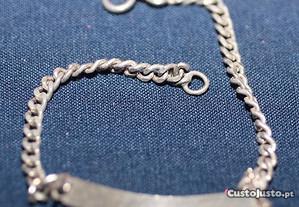 Pulseira para Bébé prata com chapa e com 18 cm