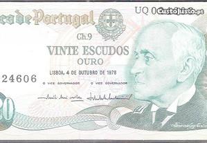 Nota Vinte Escudos 1978 - Ch.9 UQ024606