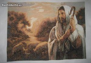 Quadro de Cristo com as ovelhas em ponto cruz