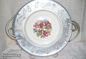 Prato grande em porcelana e ouro branco U.S.A