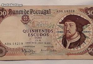 Nota 500$00 (Escudos), Ano 1966, Chapa 10