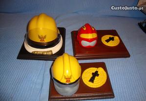 3 capacetes bombeiros