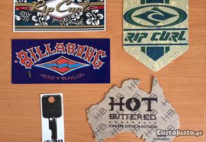 Etiquetas antigas de surf