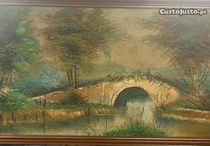 Quadro grande pintado paisagem 1.16m X 0.6m