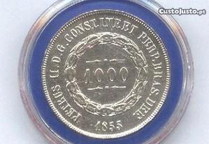 Espadim - Moeda de 1.000 Reis de 1855 - Prata