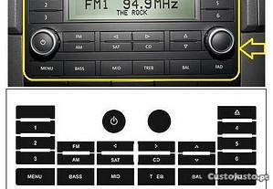 Kit Vinil Reparar Botões Rádio VW Touareg S/ GPS