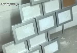 Quadro porta fotos, em moldura e, vidro cinza