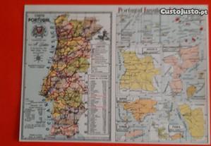 Postal antigo mapa Portugal