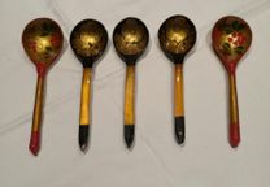 5 colheres russas pintadas á mao