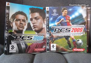 2 jogo PS3, PES (2008 e 2009) sem caixa