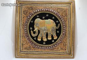Quadro Mandala c bordado Tailandês Elefante Sorte