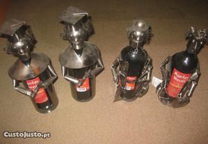 4 Figuras em Metal + Garrafa de Vinho/Novas!