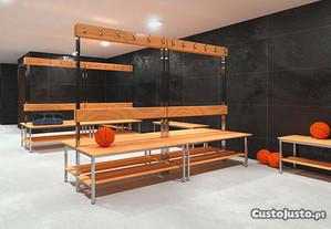 Banco balneario vestiario cabides réguas madeira