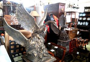 Par Estátuas Cisnes Metal