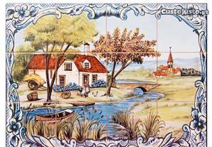 Painel Azulejos Mulher a Trabalhar no Campo 60x45c