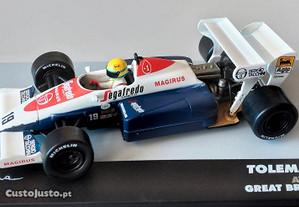 Miniatura 1/43 TOLEMAN TG184 (GP Grã Bretanha 1984) Ayrton Senna