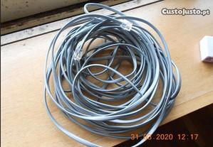 2 cabos telefone fixo rj11 com cerca de 10m e 7m