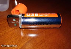Pilha AA Recarregável USB LiPo 1.5V 1200Ah Lithium